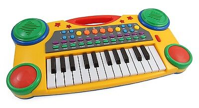"Children's 16"" Electronic Music Piano Keyboard Kids Christmas Toy Yellow PS061"