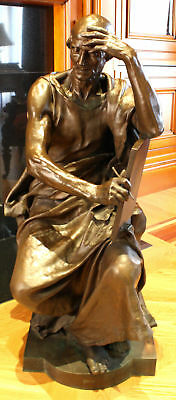 Magnificent 19C French Barbedienne Large Bronze Statue By P. Dubois