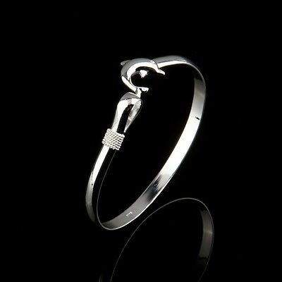 Wholesale European Fashion Jewelry Solid Silver Dolphin Clasp Bangle Bracelet ~#