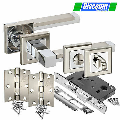 Square Rose Door Handle Pack for Bathroom Doors with Straight Cubed Levers