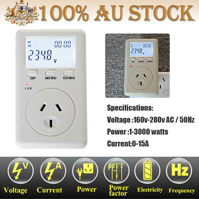 Electricity Power Current Voltage Monitor Tester 15A AU Plug Watt Volt  Meter