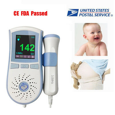 Fetal Doppler 3MHz Probe LCD Backlight Baby Heart Beat Monitor Prenatal Meter
