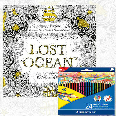 Johanna Basford Lost Ocean An Inky Adventure Colouring Book and Colouring Pencil
