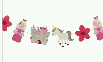 GIRLS Princess Felt bunting.190cm length 16cm height.Unicorn etc Ideal Kids room