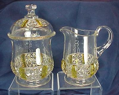 EAPG Findlay Glass Six Panel Finecut Pattern Amber Flash Creamer & Covered Sugar