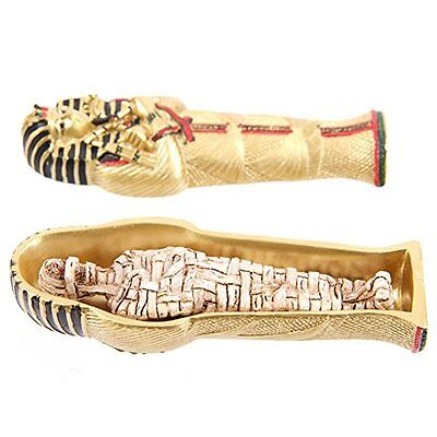 Gold Egyptian Tutankhamen Sarcophagus Trinket Box with Mummy