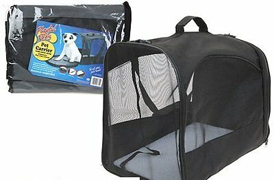 PET CARRIER Black Collapsible Fold Away Cat Small Dog Rabbit Travel Tote 5kg Mx