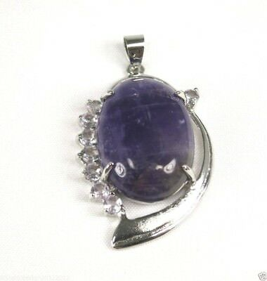 P*1083 18K White gold plate Purple Amethyst Gemstone 18x25 mm ladies pendant