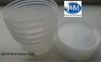 250 Small Clear Plastic Tubs Pots With LID 250ML - Tamper Proof / Snap Seal Lids