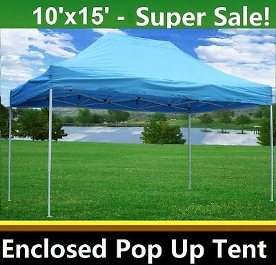 10u0027x15u0027 Enclosed Pop Up Canopy Party Folding Tent - Sky Blue - E  sc 1 st  PicClick & 10u0027X15u0027 ENCLOSED Pop Up Canopy Party Folding Tent - White - E ...