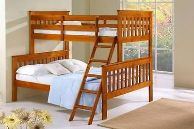 Solid Wood Dark Oak Twin Over Full Bunk Bed - HOUSTON ONLY!