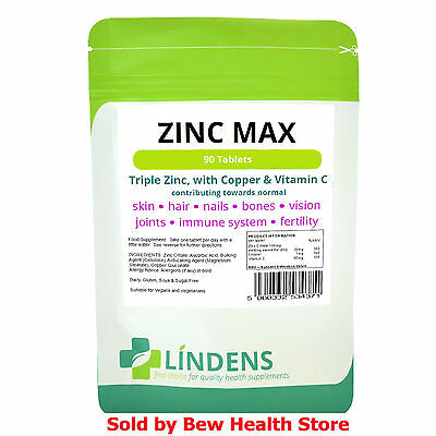 Zinc Tablets Max (With Copper & Vitamin C) High Strength  90 Tablets Lindens