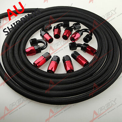 AN6 -6AN NYLON BRAIDED OIL/FUEL Hose + Fitting Hose End Adaptor Red And Black AU