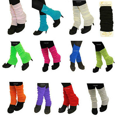 New 80's Womens Girls Plain Leg Warmers Winter Accessory Fancy Dress Accessory
