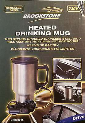Electric Heated Stainless Steel Travel Car Van Tea Coffee Mug Cup Flask 12 Volt