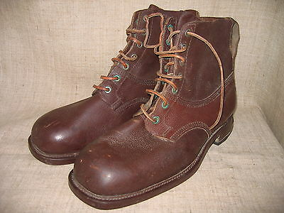 WWII Swedish Soldiers Marching/Ski Leather Boots. Size 14