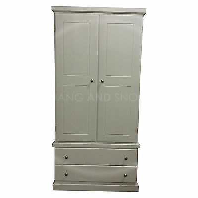 Hand Made Cambridge 2 Drawer Wardrobe Gents White/silver(Assembled)