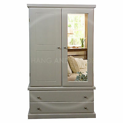 Hand Made Furniture Cambridge Single Mirrored Wardrobe White/silver( Assembled)