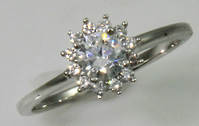 .5 ct Halo Ring Top Russian Quality CZ  Moissanite Simulant SS Size 8
