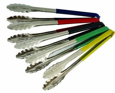 Colour Coded Stainless Steel Food Tongs Serving Tongs Choose from 5 Colours 12""