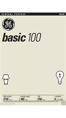 8 Pack 100 Watt GE Basic General Incandescent Light Bulbs - Household (41034)