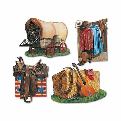 Pack of 4 Cowboy & Western Cutouts - 40cm - Wild West Party Decoration - Cowgirl
