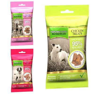 Natures Menu 95% REAL MEAT DOG TREATS Chicken Beef Lamb Meaty Training Snack 60g
