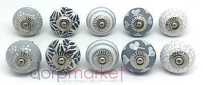 Set of 10 Grey & White Ceramic Door Knobs by Dorpmarket