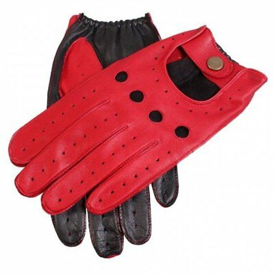 Dents Waverley Two Tone Leather Driving Gloves BERRY/BLACK