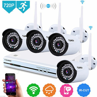 4CH Wireless 1080P DVR NVR Outdoor Wifi 720P IP Camera CCTV Security System Kit