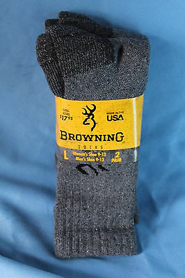 Browning 1St Quality Work Crew Socks - 2 Pair - Gray Or Charcoal