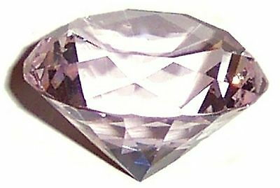 40mm PALE PINK CRYSTAL DIAMOND PAPERWEIGHT in GIFT BOX Feng Shui