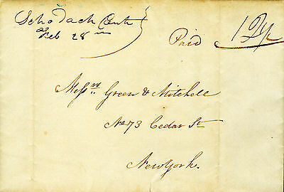 Stampless Cover Letter Schodack Ctr Ms Genet @ Prospect Hill East Greenbush 1840