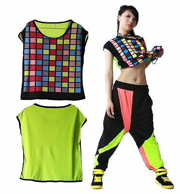 Kids Adult hip hop top dance female costume performance colorful plaid t shirts