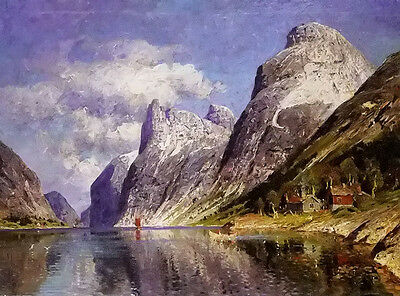 Oil painting adelsteen normann - Swaziland fjord scenery landscape & mountains