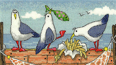 Heritage Crafts Cross Stitch Kit - By The Sea - Fish 'n' Chips