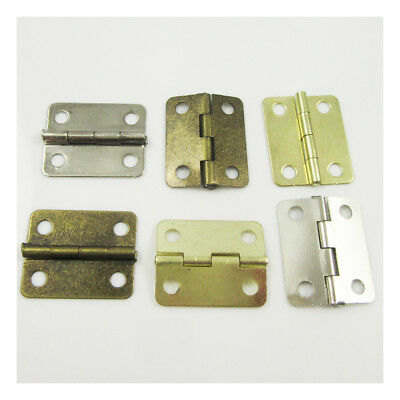 10 PLATED MINIATURE HINGES HARDWARE 19x24mm SMALL DOLLHOUSE JEWELLERY BOX