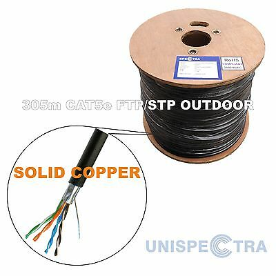 305m CAT5e FTP/STP SHIELDED OUTDOOR Network Cable External BLACK - SOLID COPPER