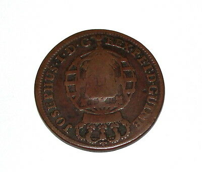 Portugal Africa Angola 1763 2 Macutas Counter Stamp Crowned Arms Coin