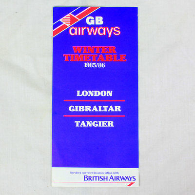GB Airways - Airline Zeitplan - Winter Zeitplan 1985/86 - London Gibraltar