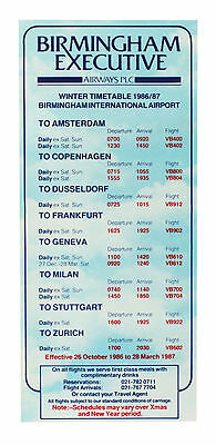 Birmingham Executive Airways - Airline Zeitplan - Winter Zeitplan 1986 / 1987