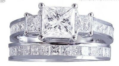 Real 3.0ct Princess Cut Diamond Engagement Ring Wedding Band 14k White Gold