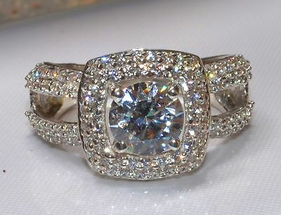Real 2.39ct Round Brilliant Diamond Bridal Engagement Ring Solid 14k White Gold