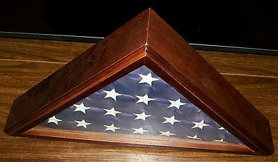 American Flag Display Case Cherry Wooden Mitered Edges Glass Front New