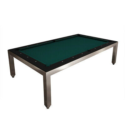 Brushed Stainless Steel Fusion Pool Table - Black Top & Benches