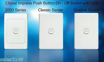 Clipsal Impress LED Push Button Light Switch w Wall Plate 2000 Classic Slimline