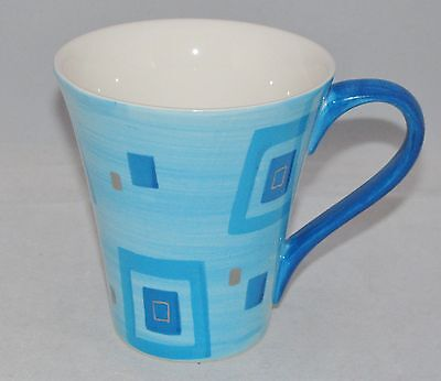 burton+Burton Porcelain Tea or Coffee Mug Gift Set BLUE SQUARES