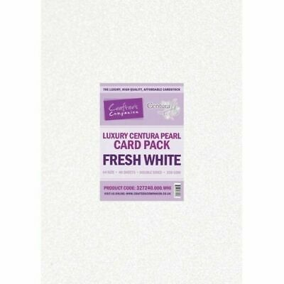 Crafters Companion Fresh White Luxury Centura Pearl A4 Double Sided Card Pack CP