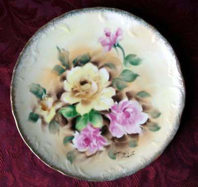 China Occupied Japan Hand Painted Floral Cabinet Plate
