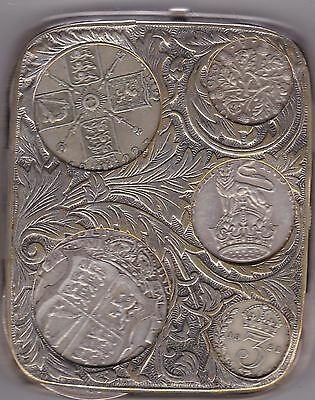 Nickel Plated Coin Holder With Silver Coins In A Nice Collectable Condition